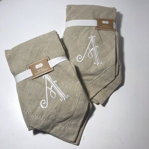 "Mud Pie napkins embroidered ""A"" 20"" sq. Linen like"